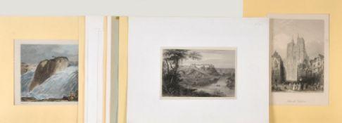 Ortsansichten, 11 Stück11 Stahlstiche, 1 handcolor., versch. Größen, u.a. Wien, Marseille, Rouen,