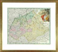 """Landkarte """"Saxonia Superior""""Kupferstich, handcolor., 33 x 38,5 cm, von Kauffer, Anfang 18. Jh., R"""