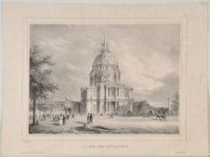 Paris, InvalidendomLithographie, 24 x 33 cm, von Bernard u. Frey, dat. 1837, leicht fleckig