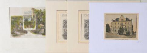 Füssen, 4 Ansichten3 Holzstiche (gleiche Motive), 1 Offset, versch. Größen, um 1900, P
