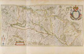 """Landkarte """"Alsatia Landgraviatus cum Suntgoia et Brisgoia""""Kupferstich, handcolor., 40 x 80 cm, von"""