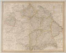 """Landkarte """"Charte vom Königreiche Bayern""""Kupferstich, handcolor., 50 x 62 cm, von C.F. Weiland,"""