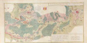 """Landkarte """"Vorstellung der Linie u. Inondation von Bruchsahl bis Ketsch""""Kupferstich, handcolor.,"""