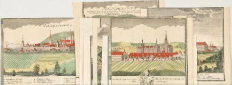 """Schlesien und Polen, 11 Ansichten11 Kupferstiche, handcolor., versch. Größen, von F. Werner, aus """""""
