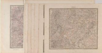 """Landkarten, 8 Stück """"Baden Württemberg""""8 Lithographien, versch. Größen, 19. Jh."""
