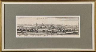 Neustadt (Neustatt) an der Orla, GesamtansichtKupferstich, 9 x 31,5 cm, von Merian, 17. Jh., R