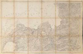 """Landkarte """"Immenstadt""""Lithographie, 53 x 82,5 cm, von Riegel u. Volkert, als Faltkarte mit 18"""