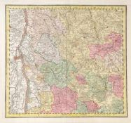 """Landkarte """"Elsass/Schwarzwald""""Kupferstich, handcolor., 49,5 x 54,5 cm, von Seutter, um 1740"""
