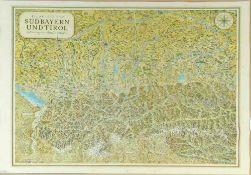 """Landkarte """"Bildkarte von Südbayern und Tirol""""Farblithographie, 84 x 112 cm, von Fritz Loehr, bei"""