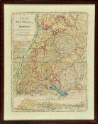 """Landkarte """"Baden-Württemberg und Hohenzollern""""Farblithographie, 39 x 29,5 cm, von Streich, bei Lung,"""
