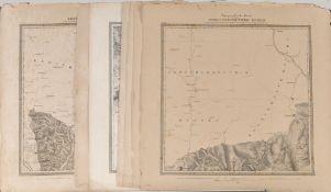 """Landkarten, 7 Stück """"Großherzogtum Baden""""7 Lithographien, je 47,5 x 47,5 cm, von Winckens, 19."""