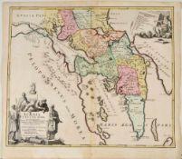 """Landkarte """"Achaia vetus et nova (Attika)""""Kupferstich, handcolor., 47,5 x 56,5 cm, von Homann, nach"""