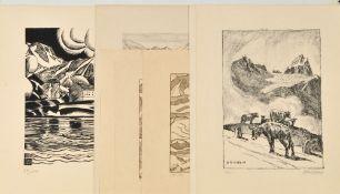"""Schweiz, 8 Ansichten7 Lithographien, Blatt je 32,5 x 41,5 cm, Motive aus """"Schönheiten der"""