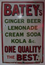 """Lot 6 - Batey's Ginger Beer original enamelled sign 20"""" x 30"""""""