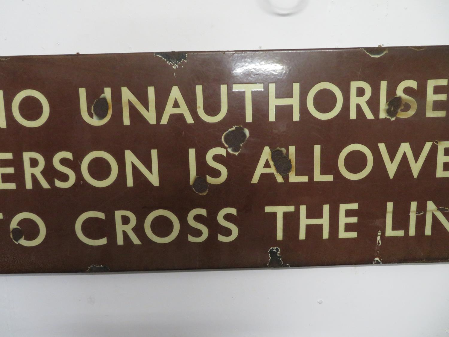 "Lot 32 - 18"" x 54"" original enamel railway sign"