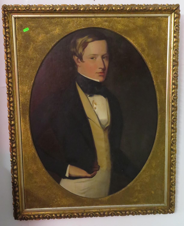 Lot 20 - Oval portrait oil on canvas of Gentleman