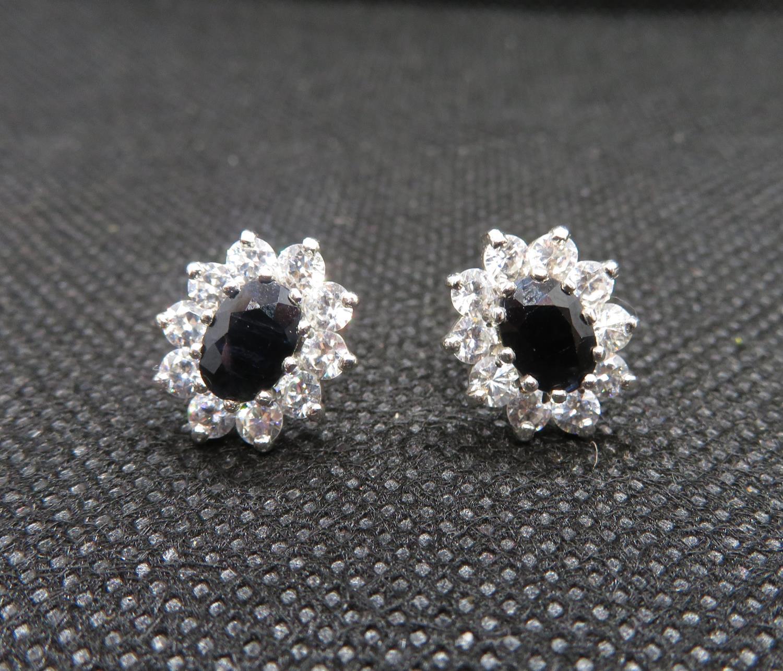 Lot 2 - 9ct gold hm sapphire earrings