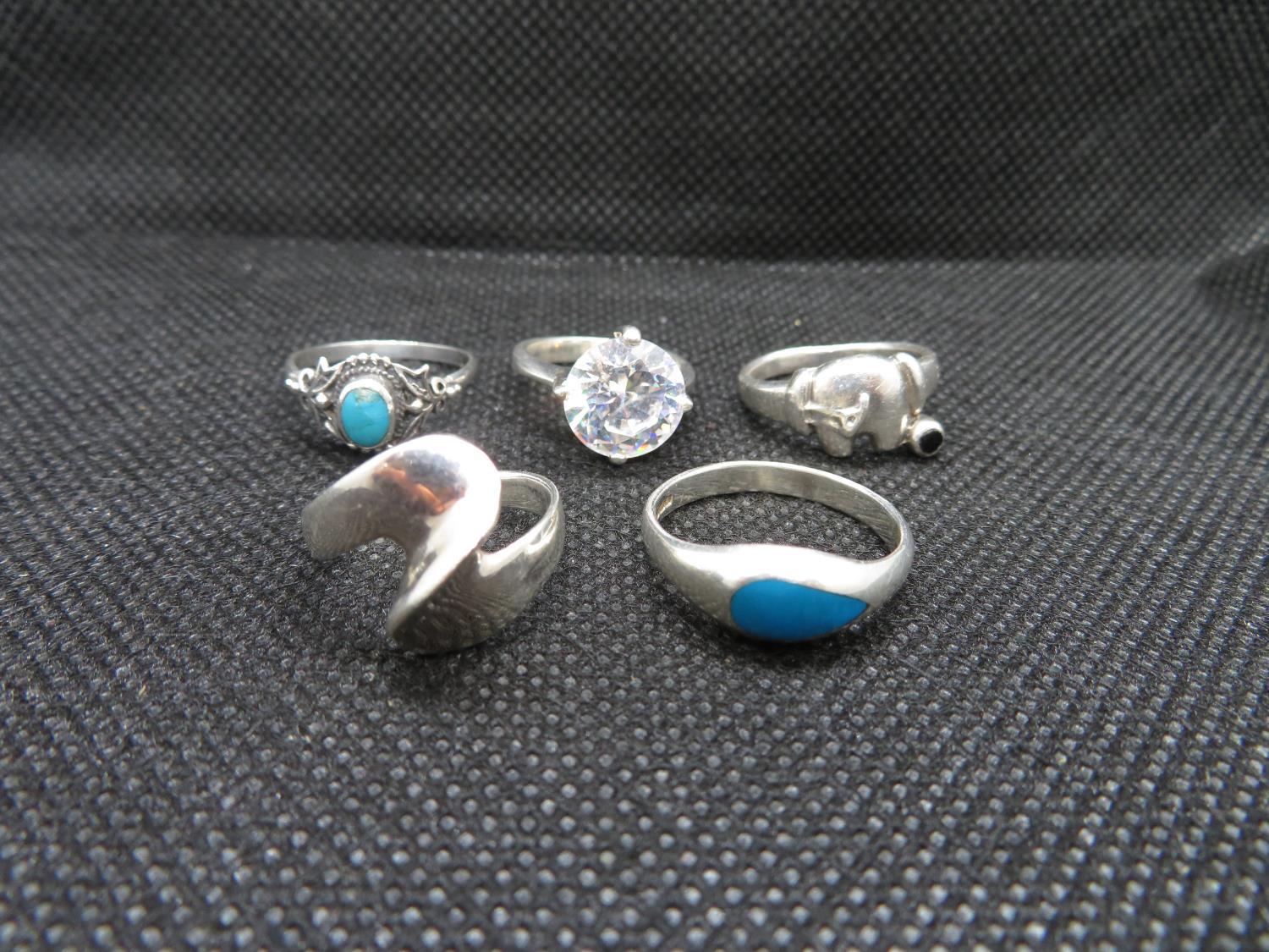 Lot 50 - Job lot of 5x silver rings - small sizes 14g