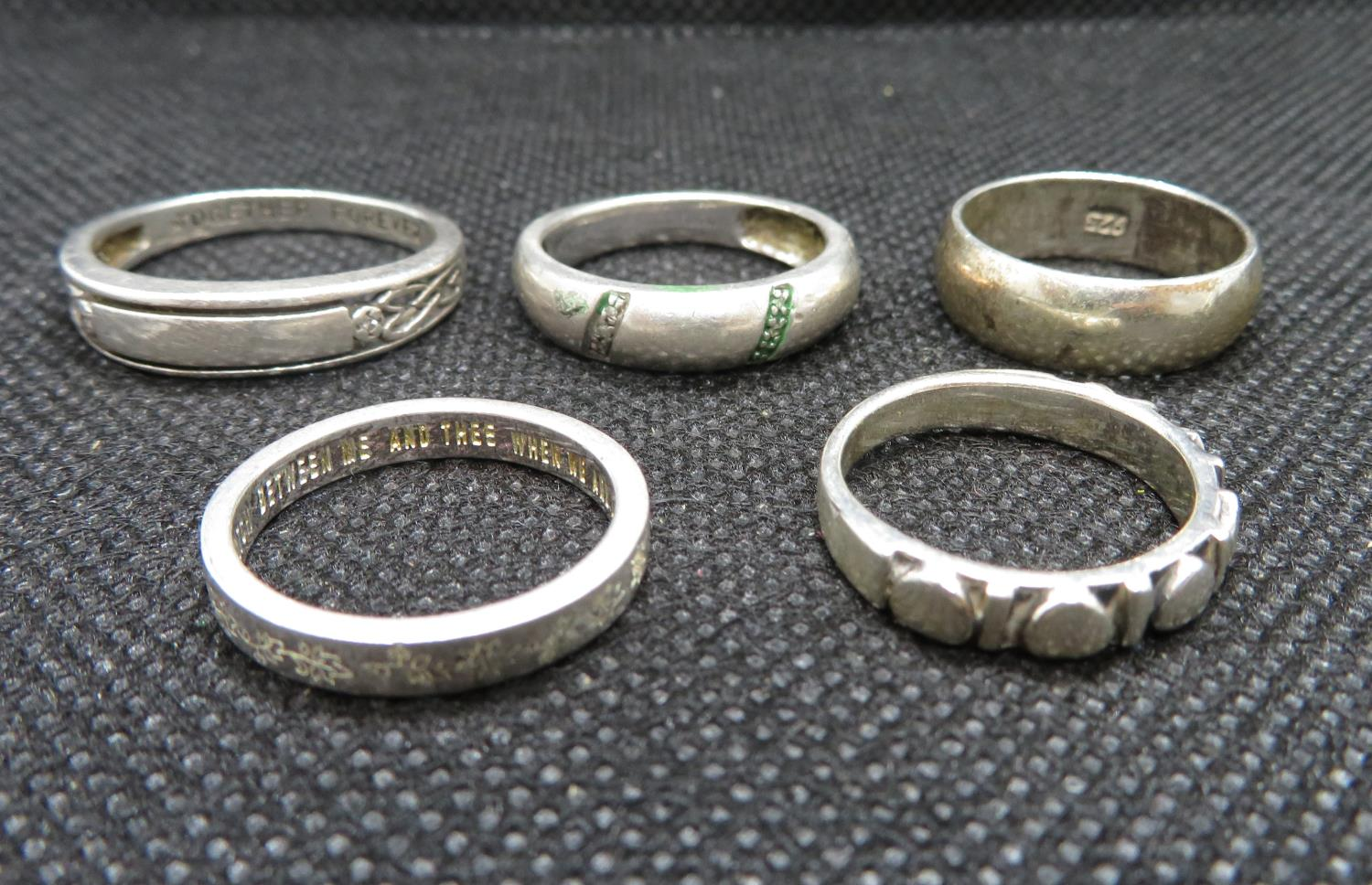 Lot 49 - Job lot of 5x silver bands to include diamond set Mizpah ring 15g