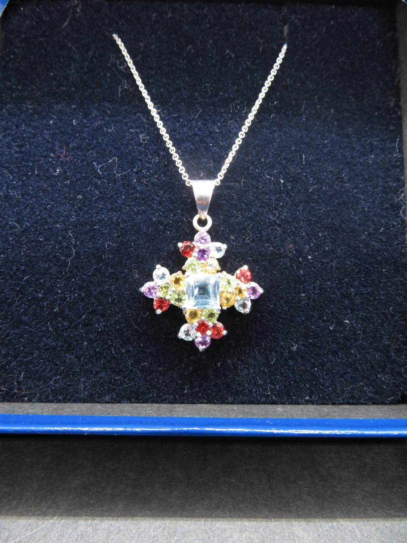 "Lot 52 - Vintage silver multi stone pendant on 18"" silver chain 5g"