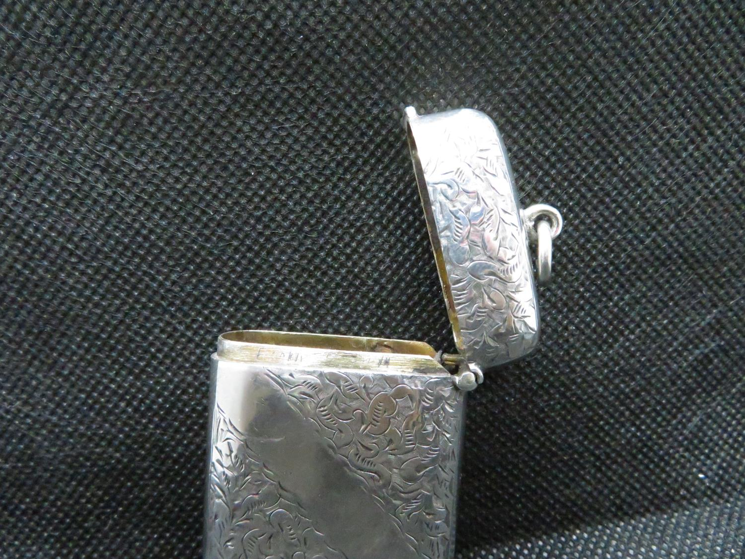 Lot 1 - Hallmarked silver Vesta case Birmingham 1878 maker H and T