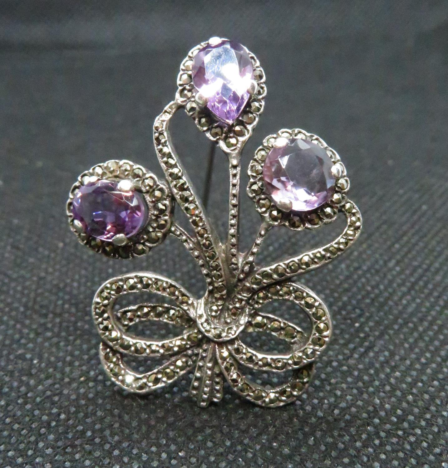 Lot 45 - Vintage silver brooch set with marquisite and amethysts HM Birmingham 1966 12grams