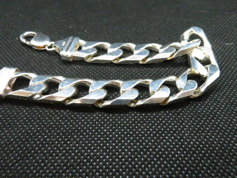 """Lot 32 - Heavy HM silver gent's curb link bracelet 8.25"""" 54grams"""