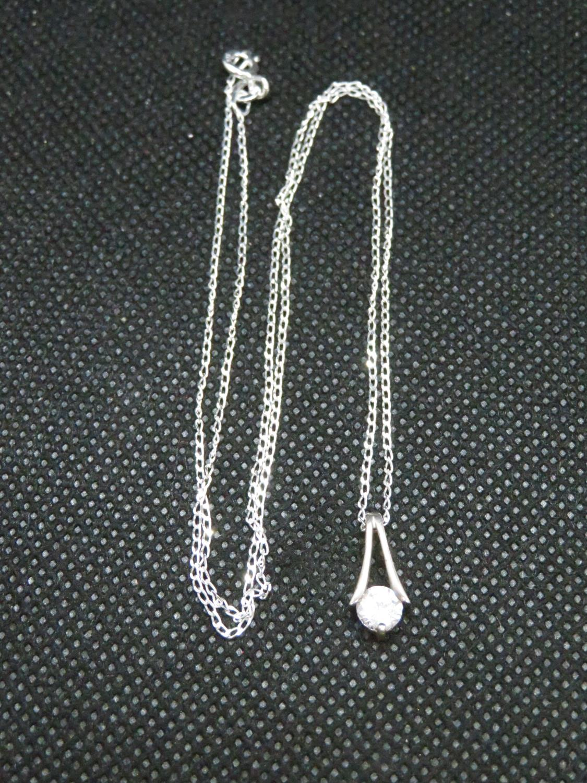 Lot 8 - Silver HM chain set with clear CZ stone brilliant cut pendant