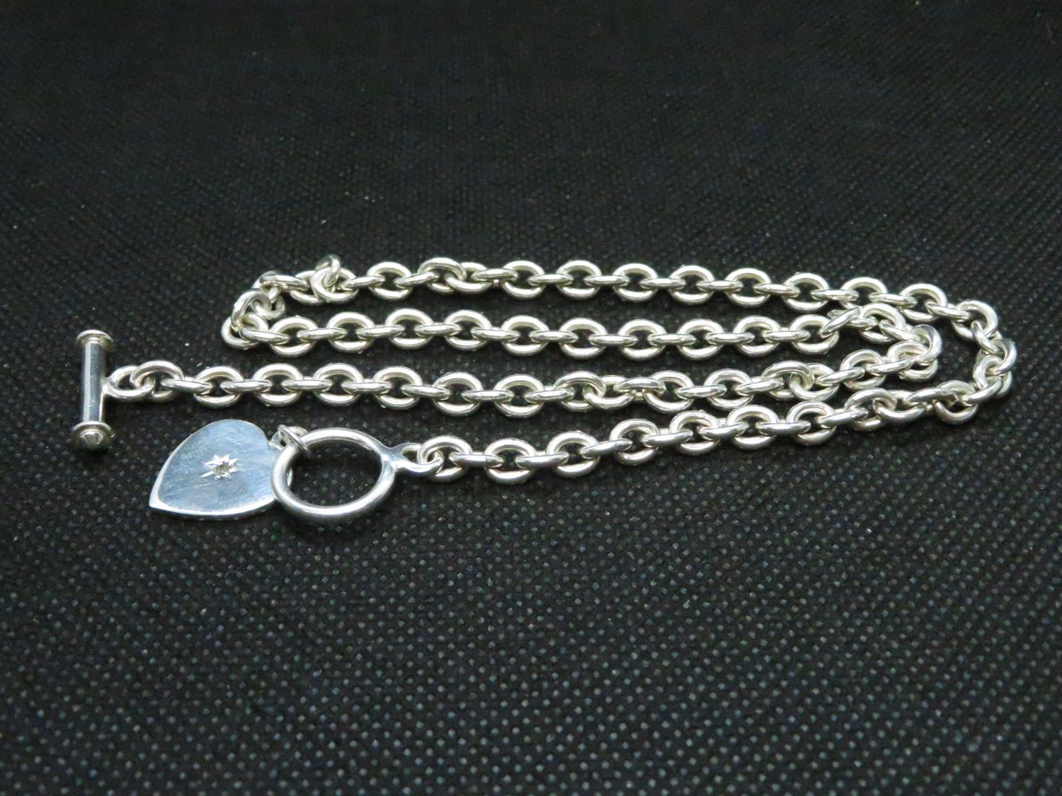 """Lot 52 - HM silver Tiffany style necklace set with natural diamond length 16.5"""" 33grams"""