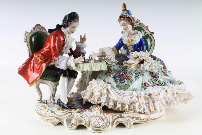 Lot 49 - Schachpartie Figurengruppe - Aelteste Volkstedt Rudolstadt,Thüringen, große Porzellanfigur, farbig