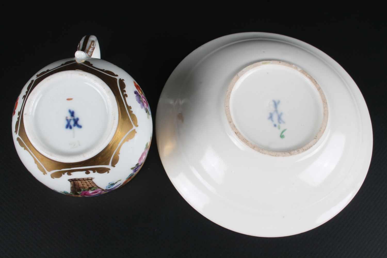 Lot 9 - Meissen 6 Schwanenhals - Kaffeetassen Knaufzeit, Schwertermarke Knaufzeit 1860-1924, 6