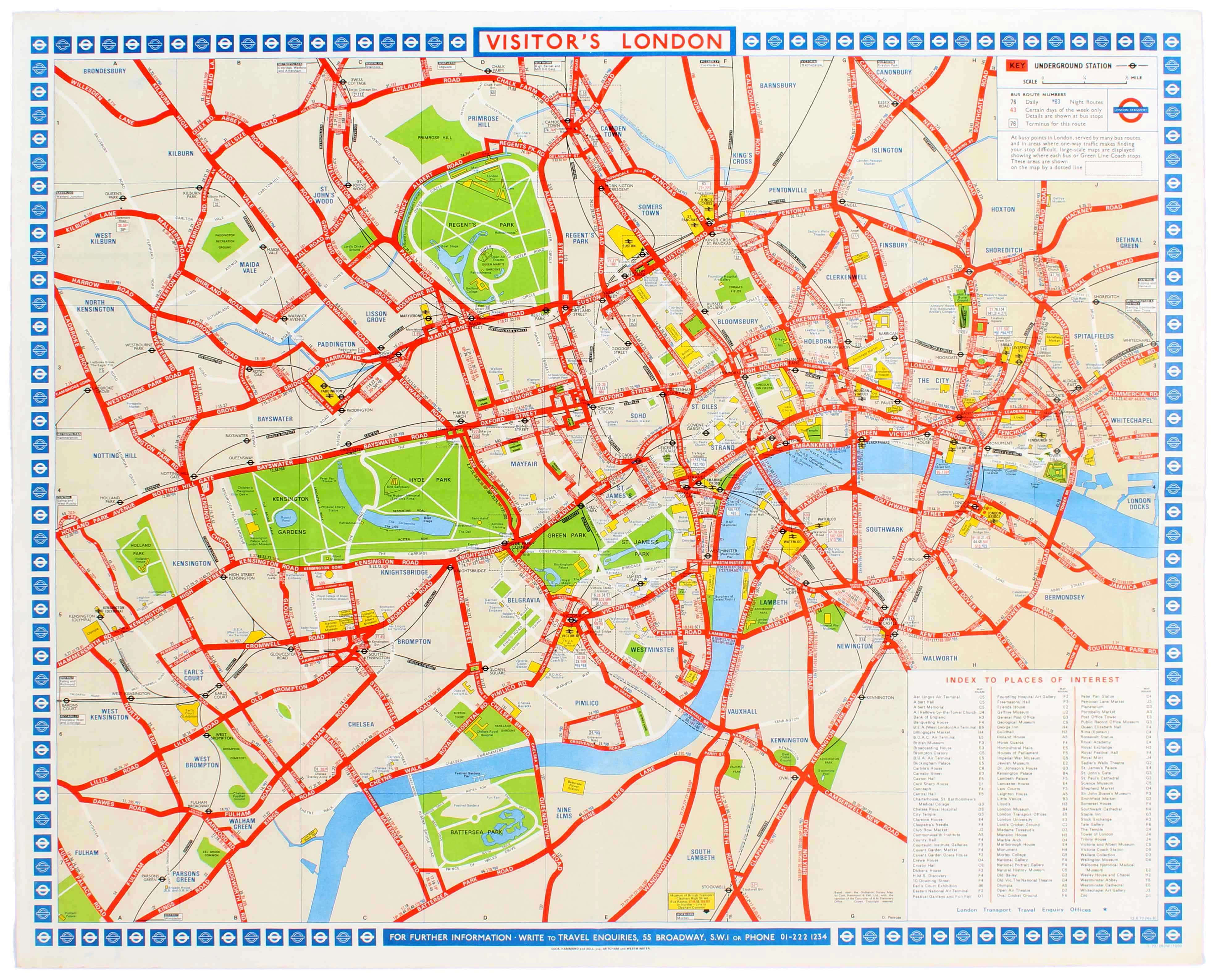 Visitors Map Of London.Original Vintage Travel Advertising Poster Depicting A Tourist Map