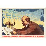 Propaganda Poster Electrification Lenin Soviet Union