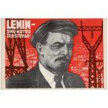 Propaganda Poster Soviet Union Electrification Lenin Thoughts USSR