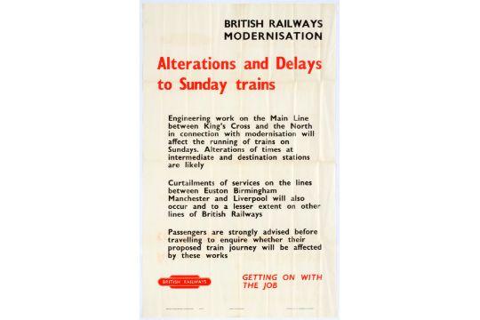 Set of 3 original vintage British Railways announcement posters  1