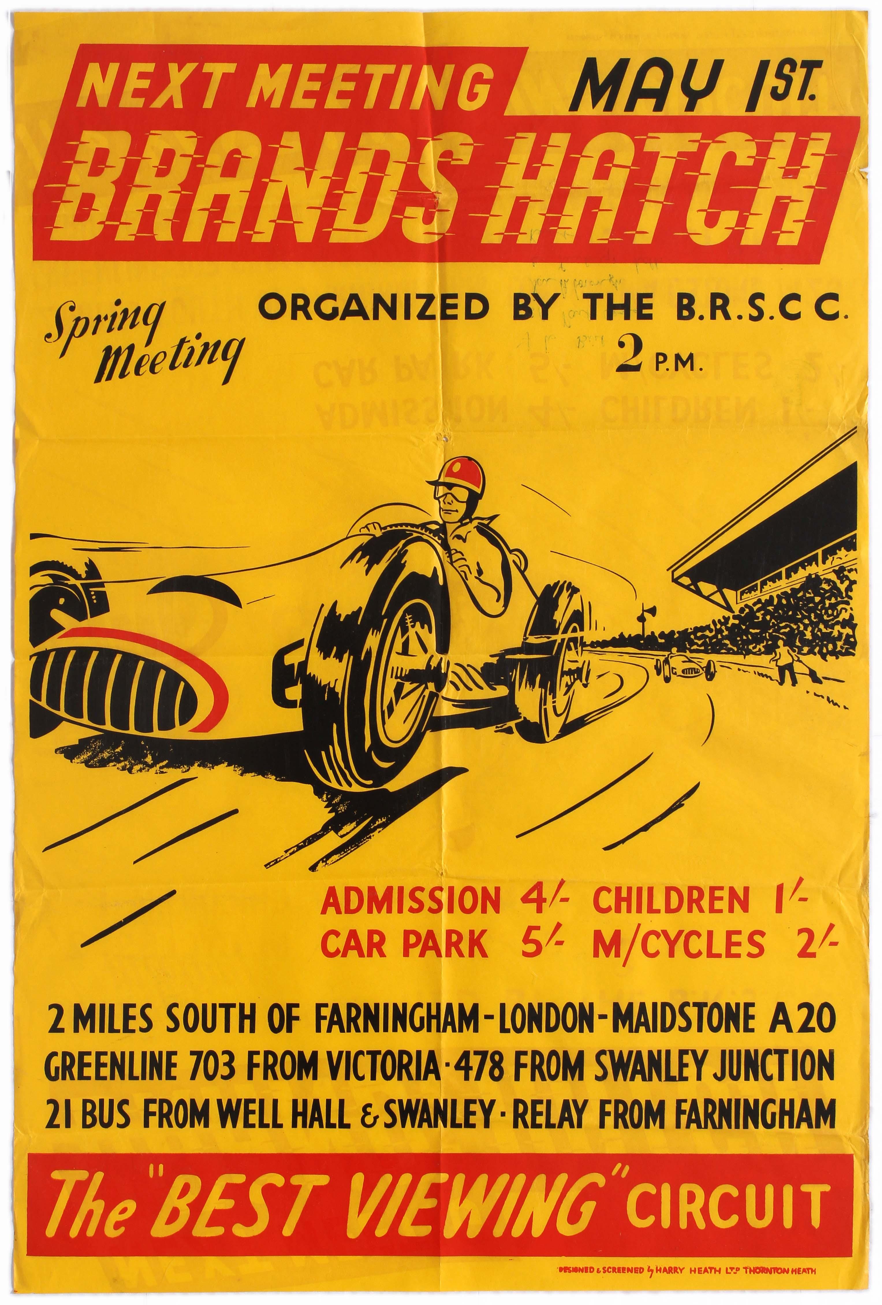 Sport Poster BRSCC Spring Meeting Car Racing Brands Hatch 1955