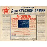 Advertising Poster Soviet Red Army Choir Alexandrov Ensemble Moscow Constructivism