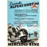 Sport Poster Mercedes Benz Type 230 Alpine Race 1938 Nazi Germany