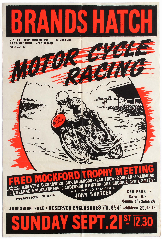 Sport Poster Brands Hatch Motorcycle Racing Fred Mockford Trophy John Surtees