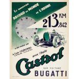 Sport Poster Bugatti Castrol Czaikowski World Speed Record Art Deco