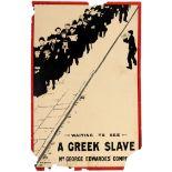 Advertising Poster Greek Slave Theatre Comedy Play UK Alan E. Beeton 1898