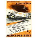 Car Racing Poster Grand Prix Belgium 1939 Mercedes Benz