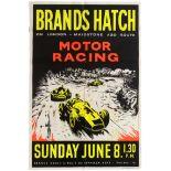 Sport Poster Brands Hatch Motor Car Racing 1961