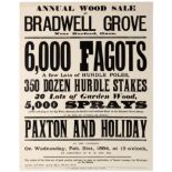 Advertising Poster Wood Sale Bradwell Grove Fagots Poles Hurdle Stakes