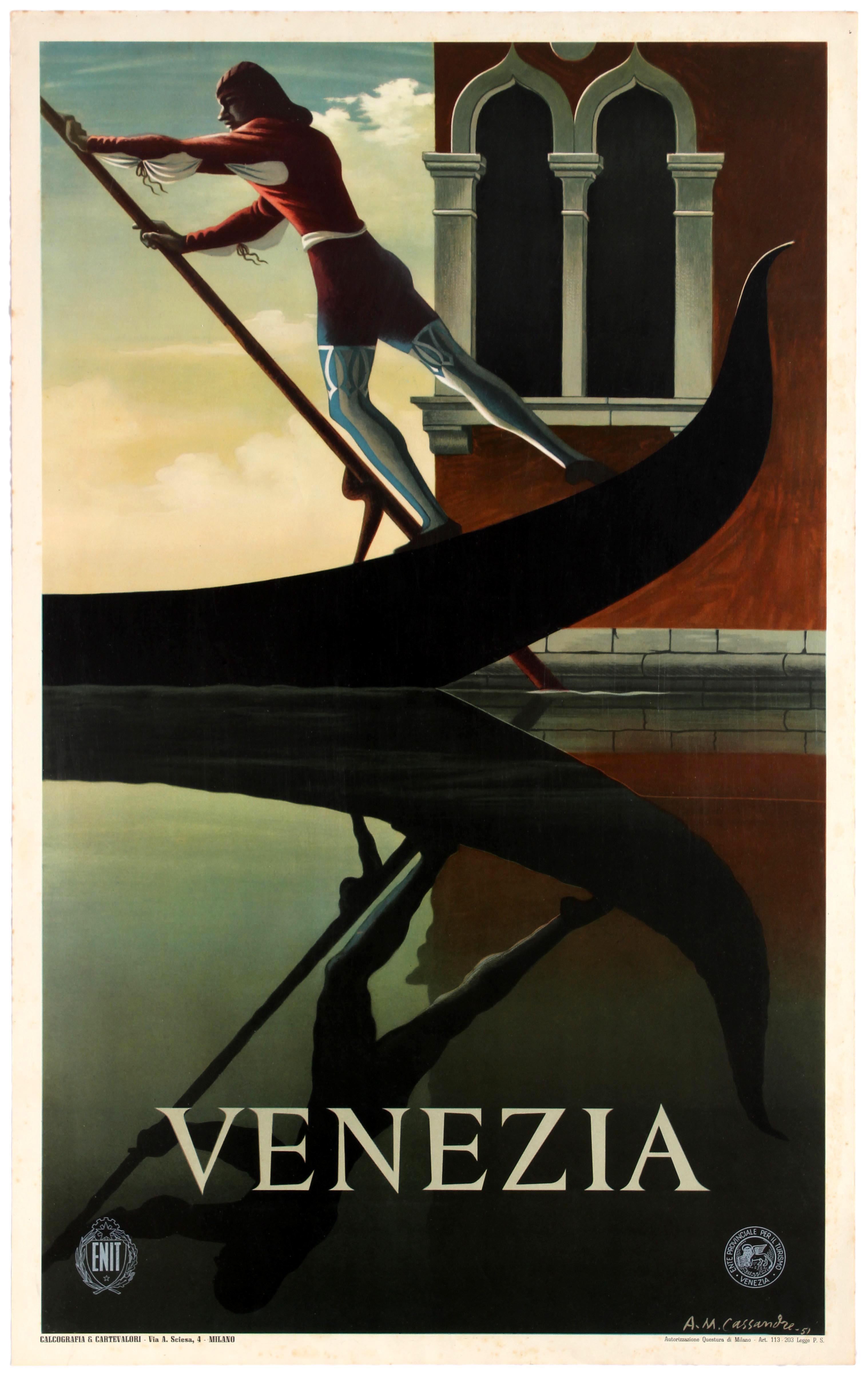 Lot 2507 - Travel Poster ENIT Venice Venezia Italy Cassandre 1951