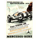 Car Racing Poster Grand Prix 1939 Mercedes Benz Nazi