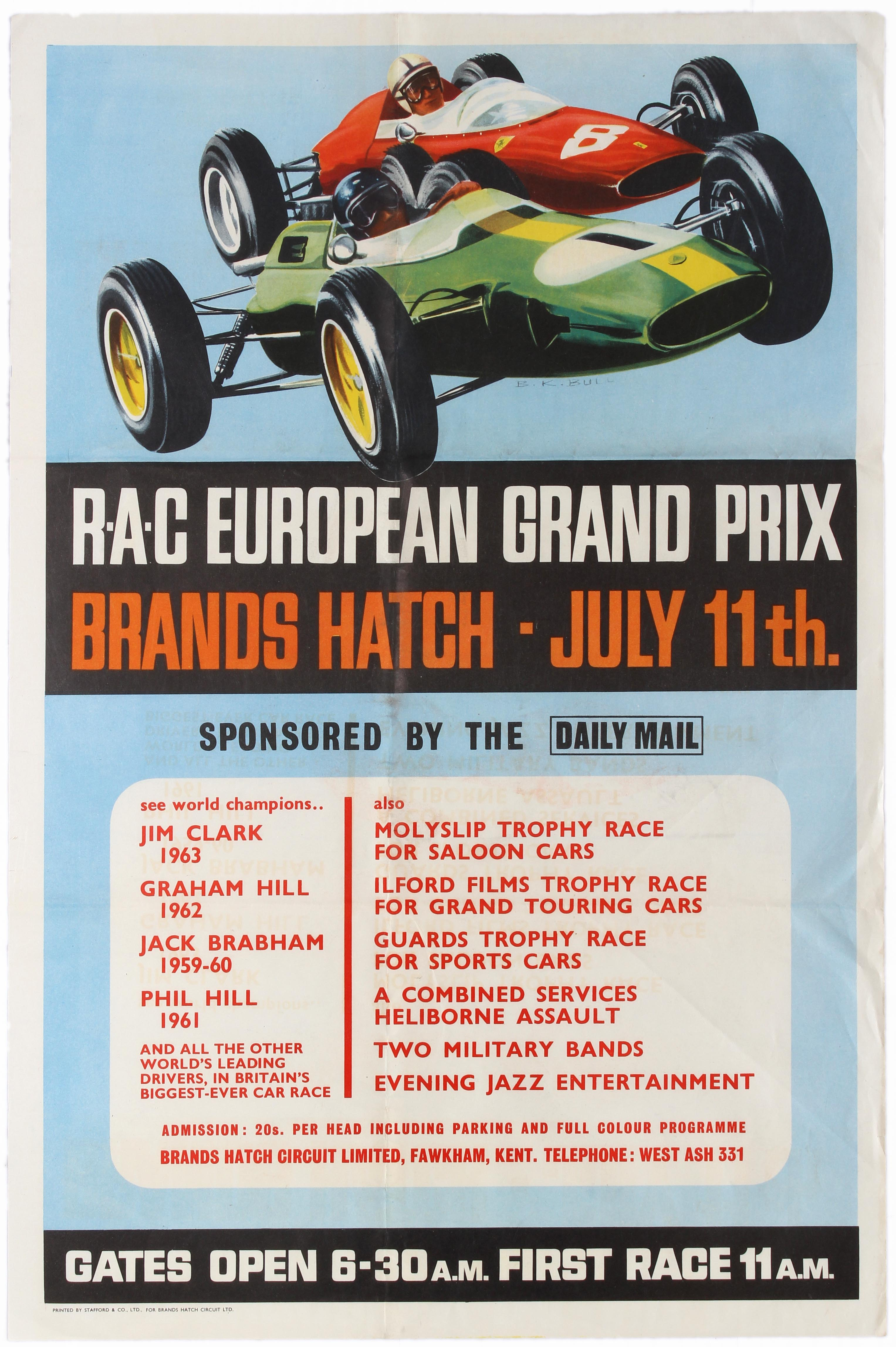 Sport Poster Formula 1 Grand Prix Lotus Ferrari Brands Hatch July 1964 Jim Clark John Surtee