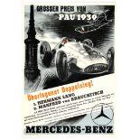 Car Racing Poster Grand Prix Pau 1939 Mercedes Benz
