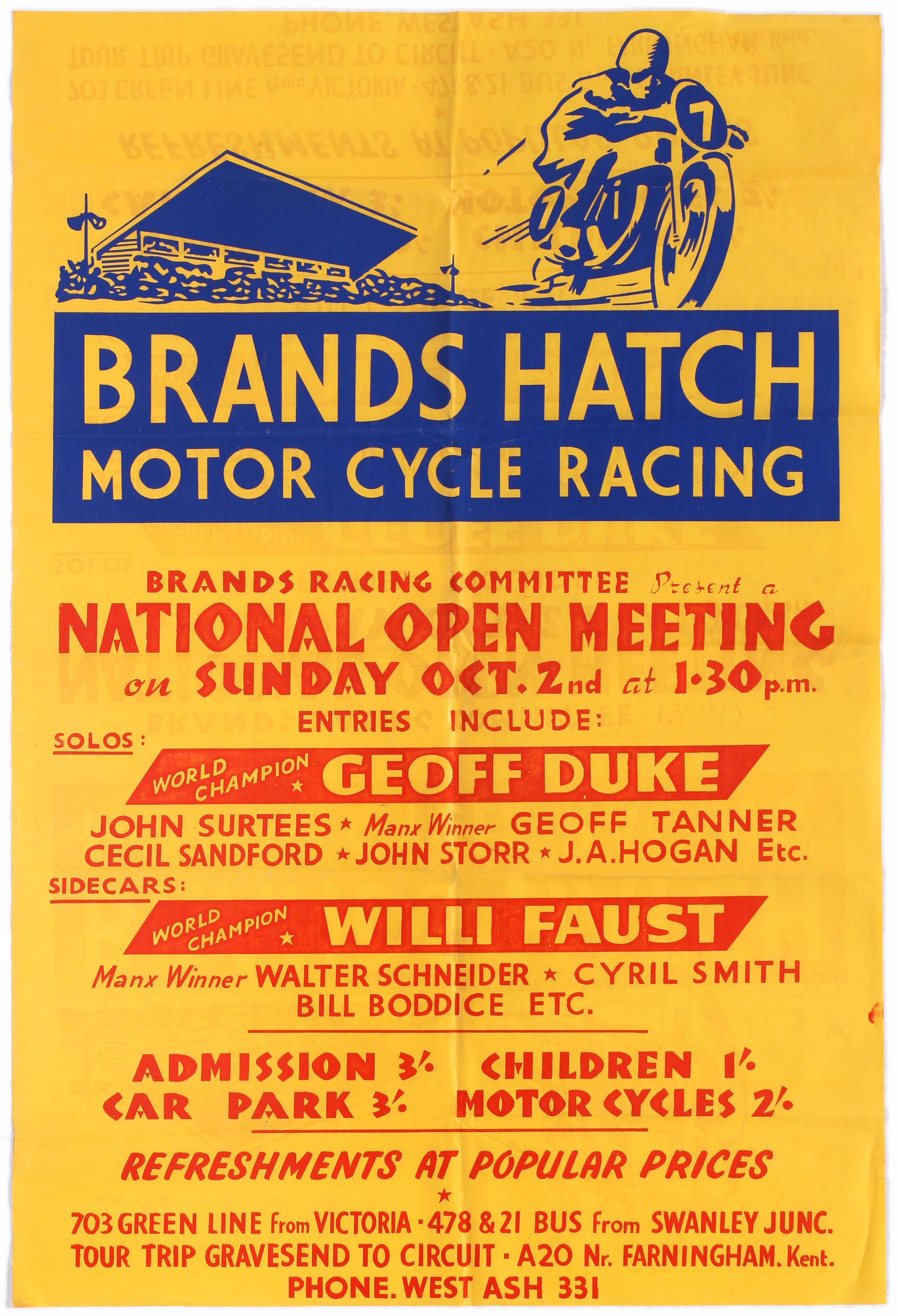 Sport Poster Brands Hatch Motorcycle Racing Geoff Duke Willi Faust