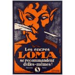 Advertising Poster Swiss Art Deco Loma Inks French